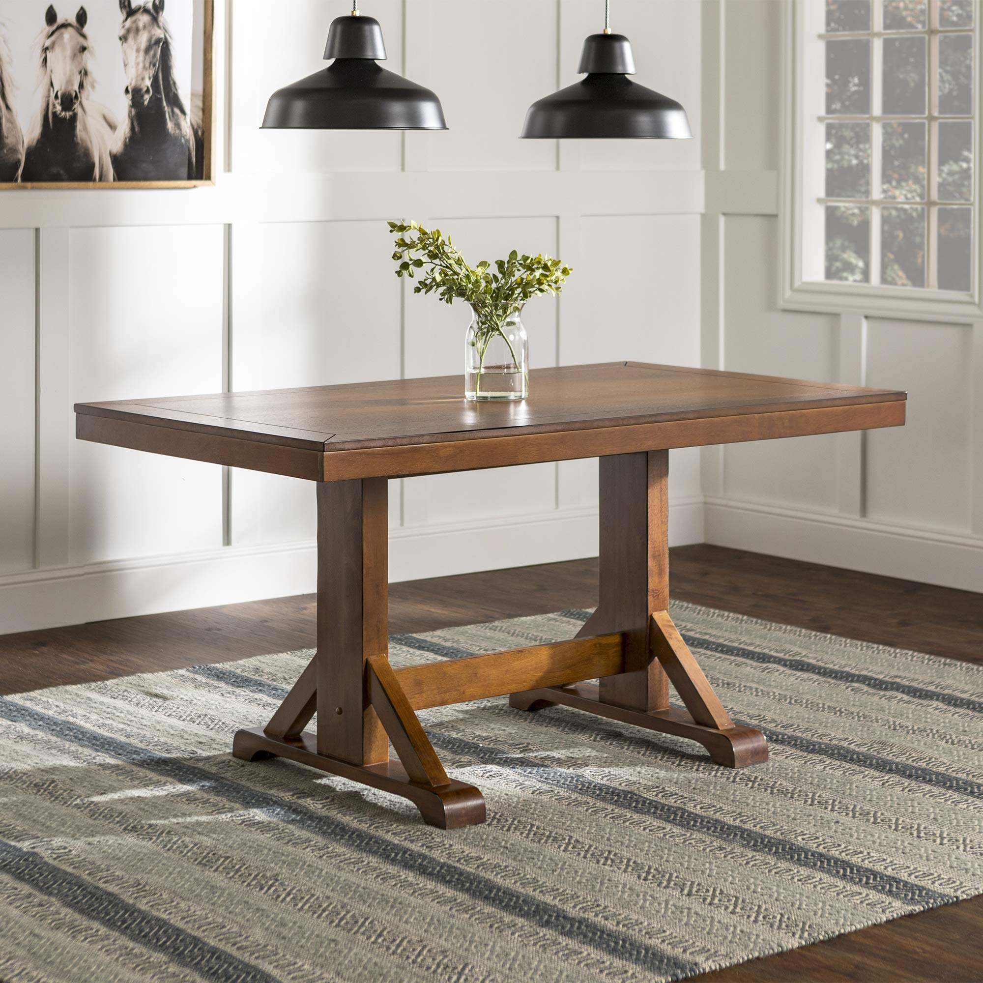 WE Furniture 60'' Millwright Wood Dining Table - Antique Brown by WE Furniture