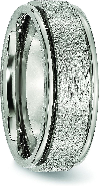 Titanium Ridged Edge 8mm Satin Wedding Band Fine Jewelry Ideal Gifts For Women
