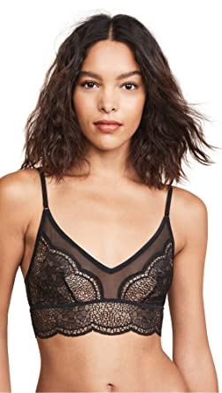 2e945a23db Calvin Klein Women s Ck Black Crackled Lace Unlined Bralette at ...