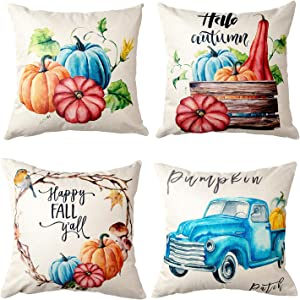 ZWJD Pillow Cover 18x18,Fall Pillow Covers Set of 4 Modern Sofa, Autumn Harvest Pumpkin Theme Decorative Linen Fabric Throw Pillow Case for Couch Bed Car 45x45cm
