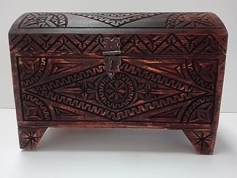 Arredamento Etnico Africano : Baule etnico in legno di cedro intagliato a mano artigianato