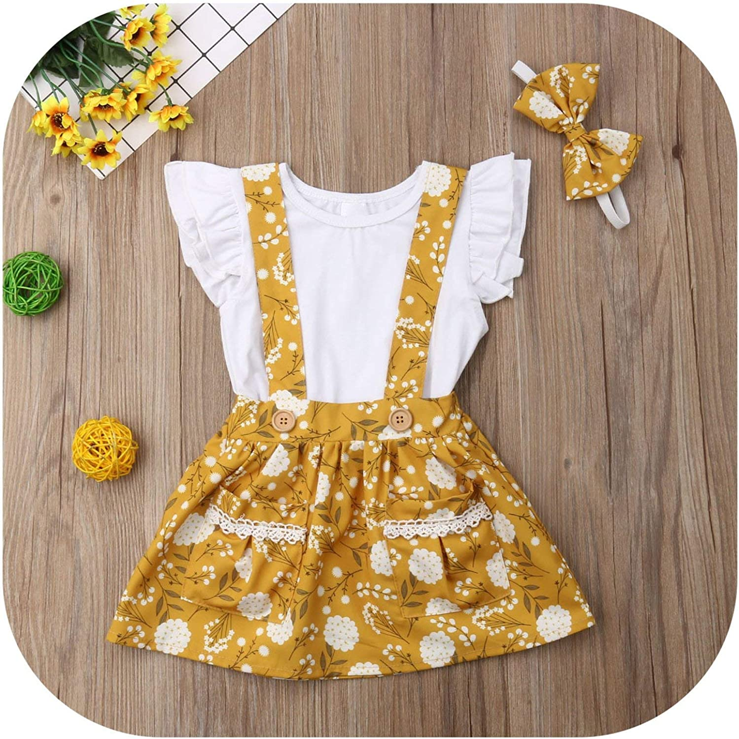 Toddler Kid Baby Girl Lace Floral Ruffled T Shirt Suspender Skirt Clothes Outfit