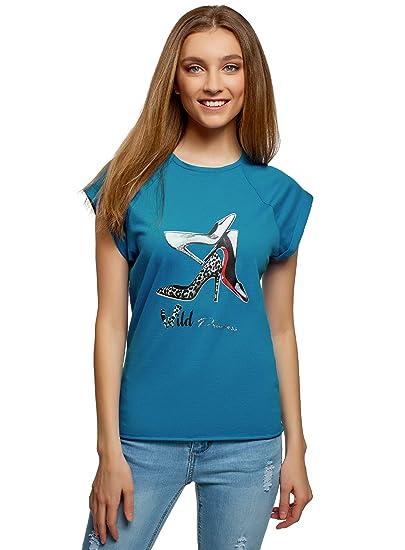 oodji Ultra Hombre Camiseta de Algodón con Estampado con Borde Inferior No Elaborado sin Etiqueta akCZL