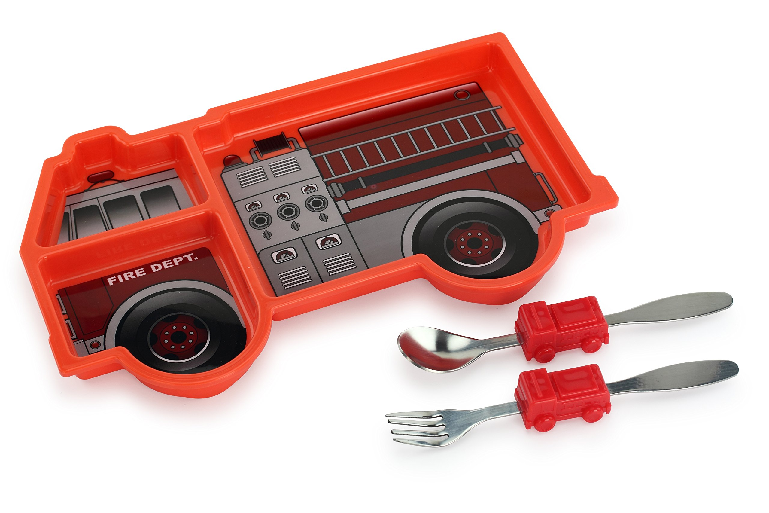 KidsFunwares Me Time PP Dinnerware Set (fire Engine) – 3-Piece Set for Kids and Toddlers – Plate, Fork and Spoon that Children Love - Sparks your Child's Imagination and Teaches Portion Control