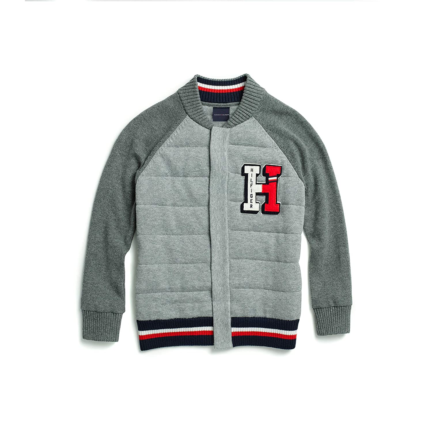 Tommy Hilfiger Boys Adaptive Baseball Sweater with Magnetic Buttons at Front