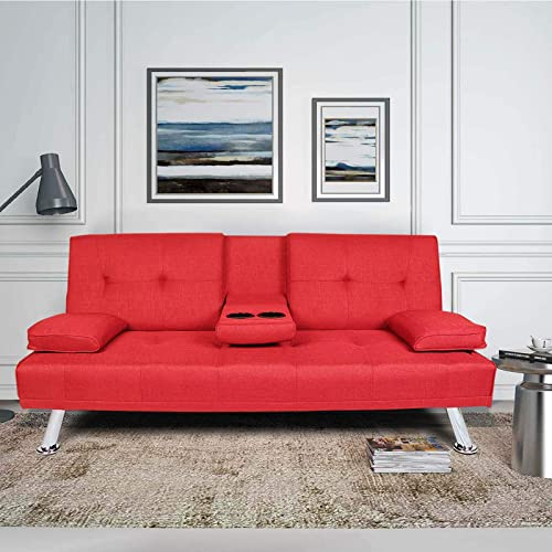 HomVent Linen Upholstered Modern Convertible Folding Futon Sofa Bed