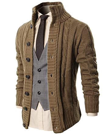 H2H Mens Casual Stand Collar Cable Knitted Button Down Cardigan ...