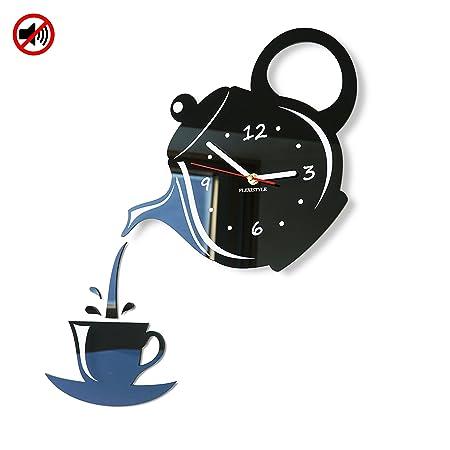 FLEXISTYLE Orologio da Parete da Cucina Tazza e Bricco Marrone Nero  Silenzioso Moderno per Bar 3 d Decorativo