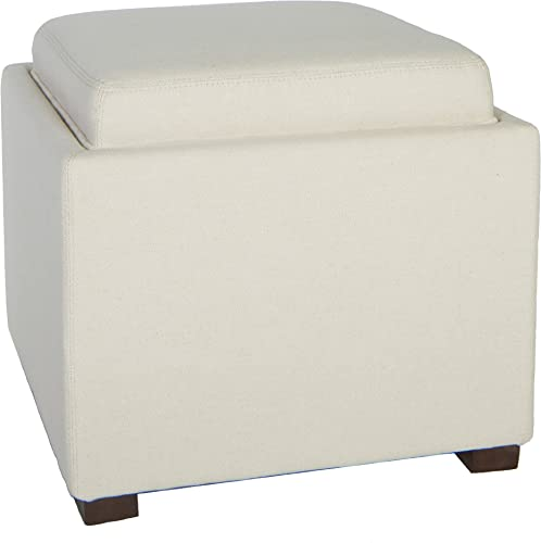 Cortesi Home Linen Fabric Mavi Tray Top Storage Cube Ottoman