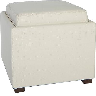 Cortesi Home Linen Fabric Mavi Tray Top Storage Cube Ottoman, White