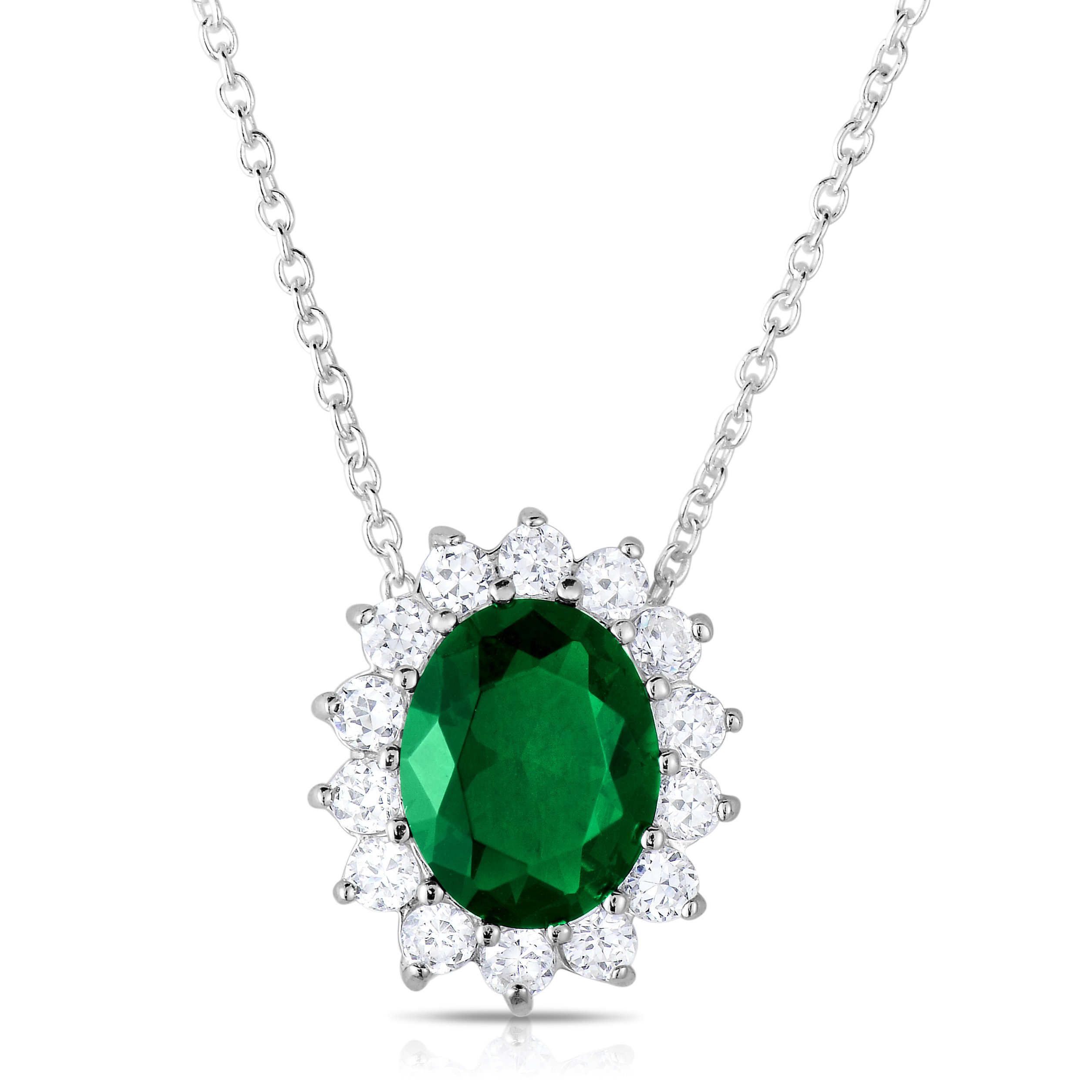 Sterling Silver Rich Green Emerald CZ with White CZ Helo Jacket Princess Diana Necklace and Pendant - 18''