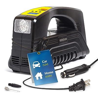 Kensun Bike Tire Pump 110V AC Home / 12V DC Car Electric Powered Inflator Air Compressor: Automotive