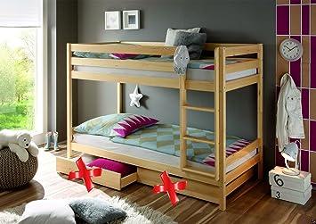 Kinderbett Etagenbett : Kinderbett etagenbett natur massiv hochbett spielbett stockbett