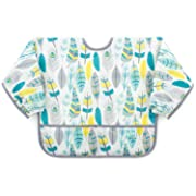 Bumkins Sleeved Bib / Baby Bib / Toddler Bib / Smock, Waterproof, Washable, Stain and Odor Resistant, 6-24 Months - Feathers