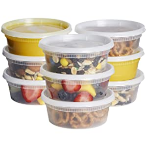 [48 Sets - 8 oz.] Plastic Deli Food Storage Containers with Airtight Lids - Slime Containers