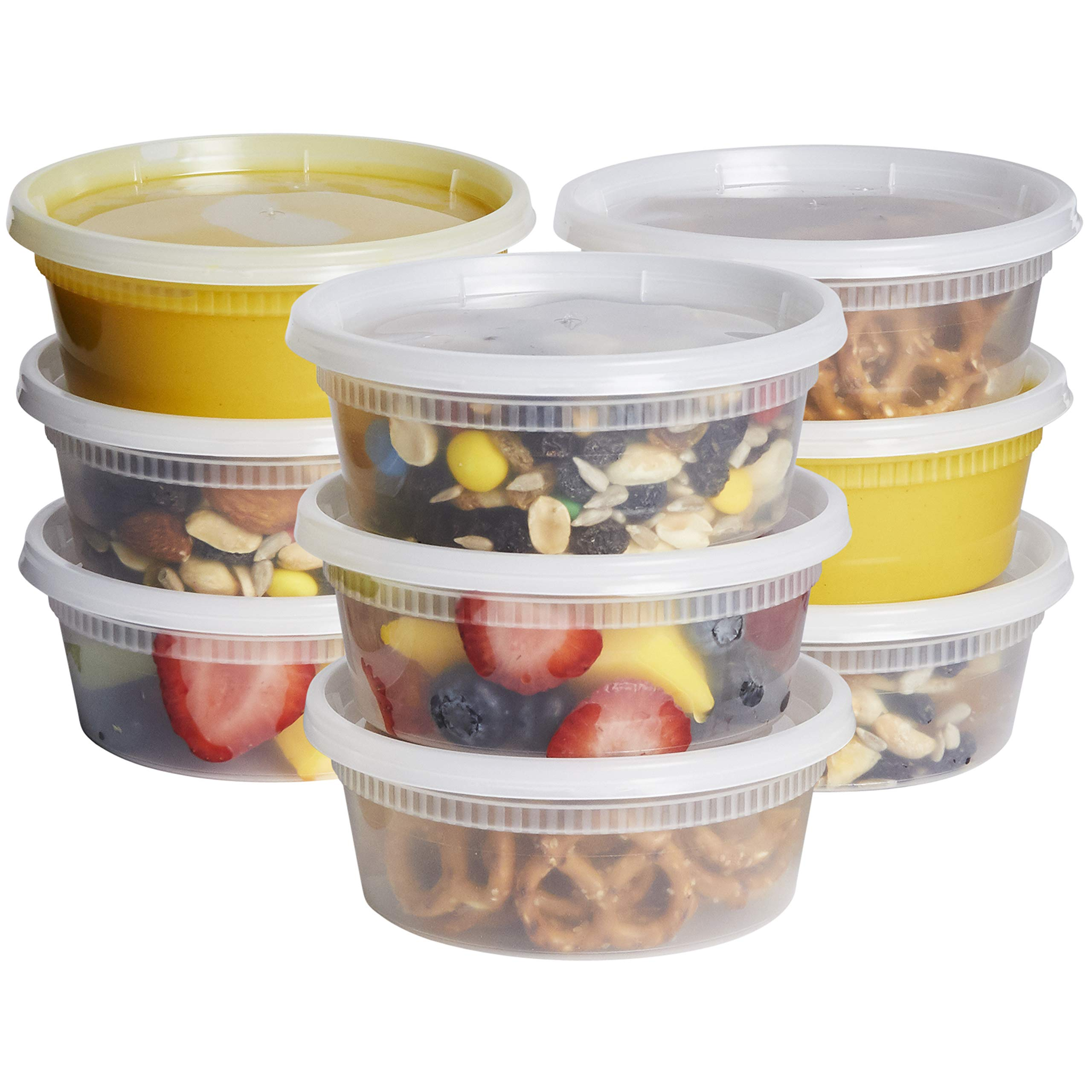8 oz. Plastic Deli Food Storage Containers with Airtight Lids [48 Sets]
