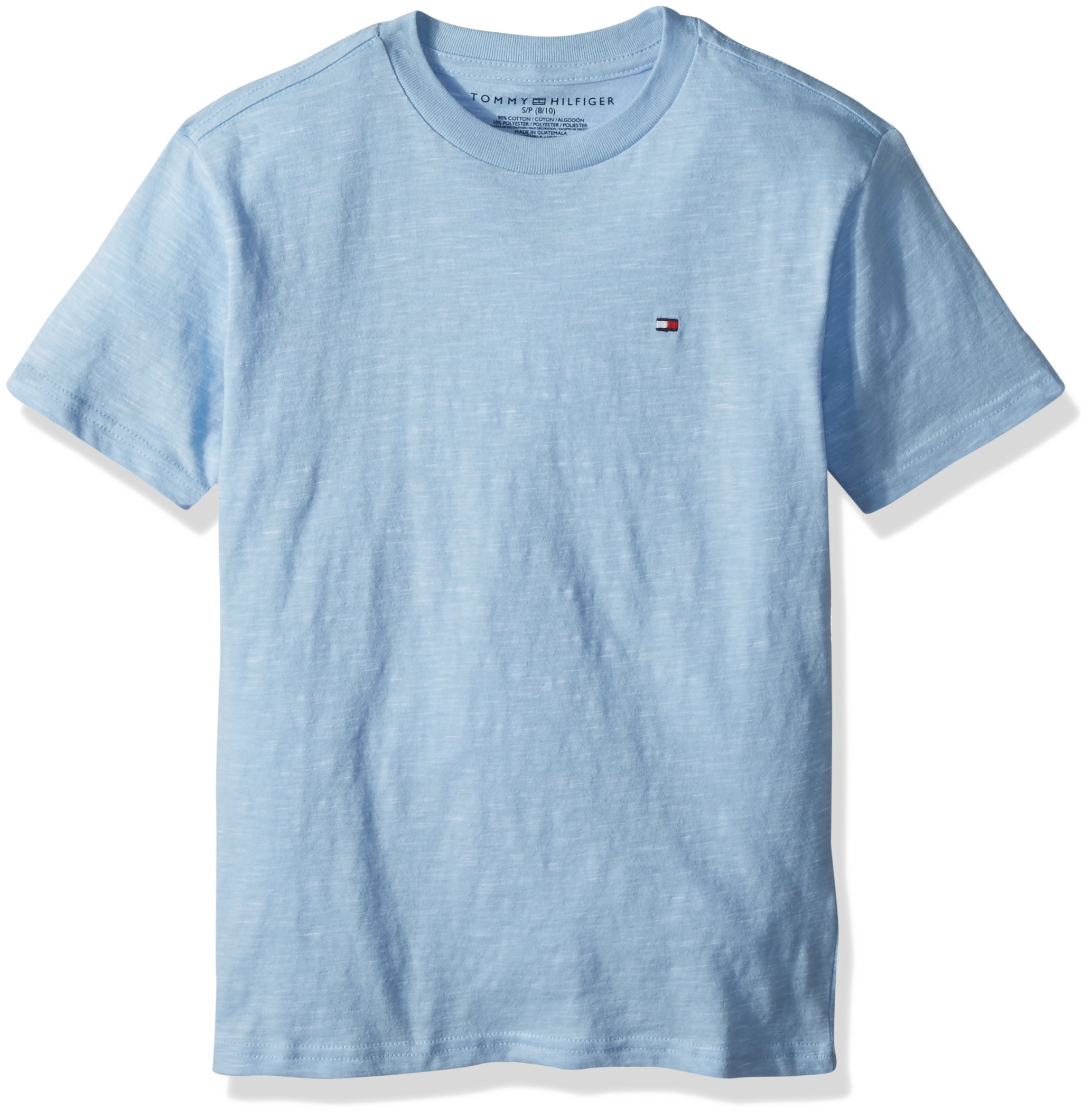 Tommy Hilfiger Little Boys' Short Sleeve Solid Crew-Neck T-Shirt, Placid Blue, 7