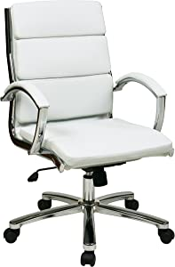 Office Star Mid Back Executive Faux Leather Chair with Chrome Finished Base and Padded Arms, White