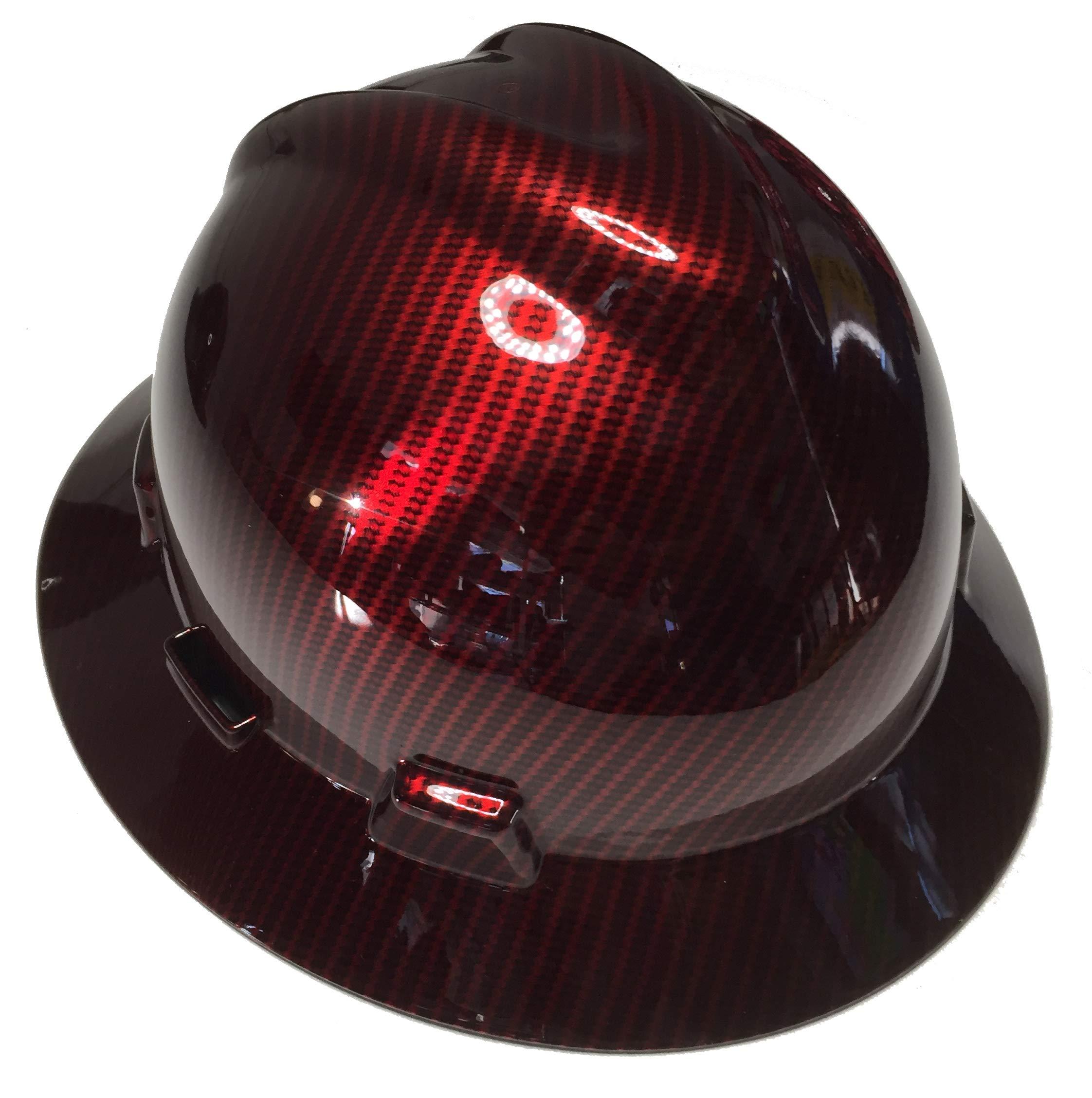 Hard Hat MSA V-Gard Full Brim Custom Red Kandy Carbon Fiber by Bag R Buck