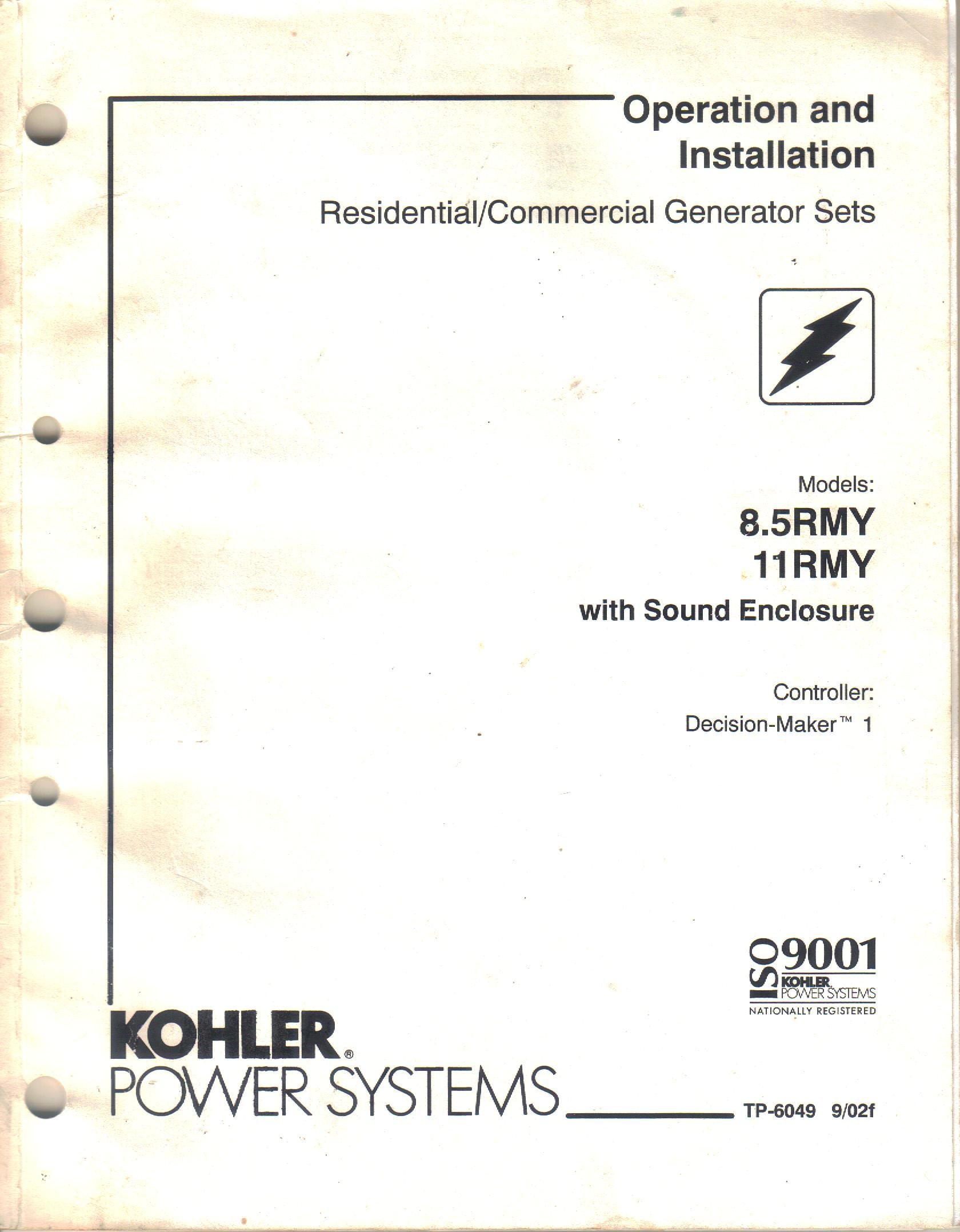 Kohler Decision Maker Manual Ch15 5 Wiring Diagram Array Operation And Installation Guide For Model 8 5rmy Rh Amazon Com