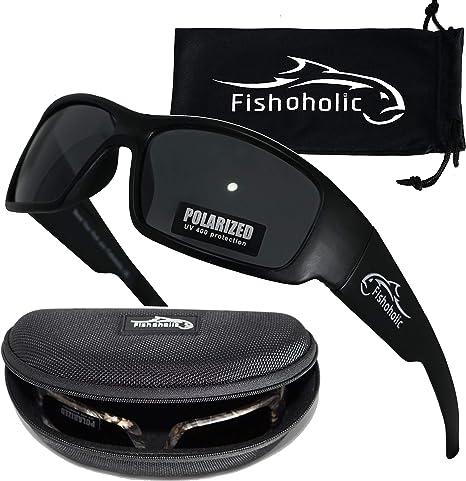 Fishoholic Gafas de Sol polarizadas Pesca (Marco Negro Mate con Lente Negro Mate) con Estuche rígido y Bolsa 100% de protección UV, Pesca para Bajos, Pescadores, Padres, etc.: Amazon.es: Deportes y aire