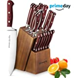 Knife Set, 15-Piece Kitchen Knife Set with Block Wooden, Self Sharpening for Chef Knife Set, German Stainless Steel, Santoku Knives (15 PCs Knife set)