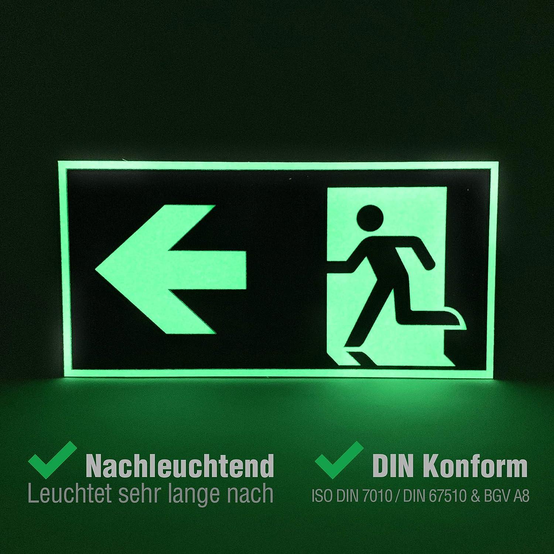 Fire Exit per tutte le direzioni sinistra per sfuggite di emergenza segni Adesivi // Adesivo