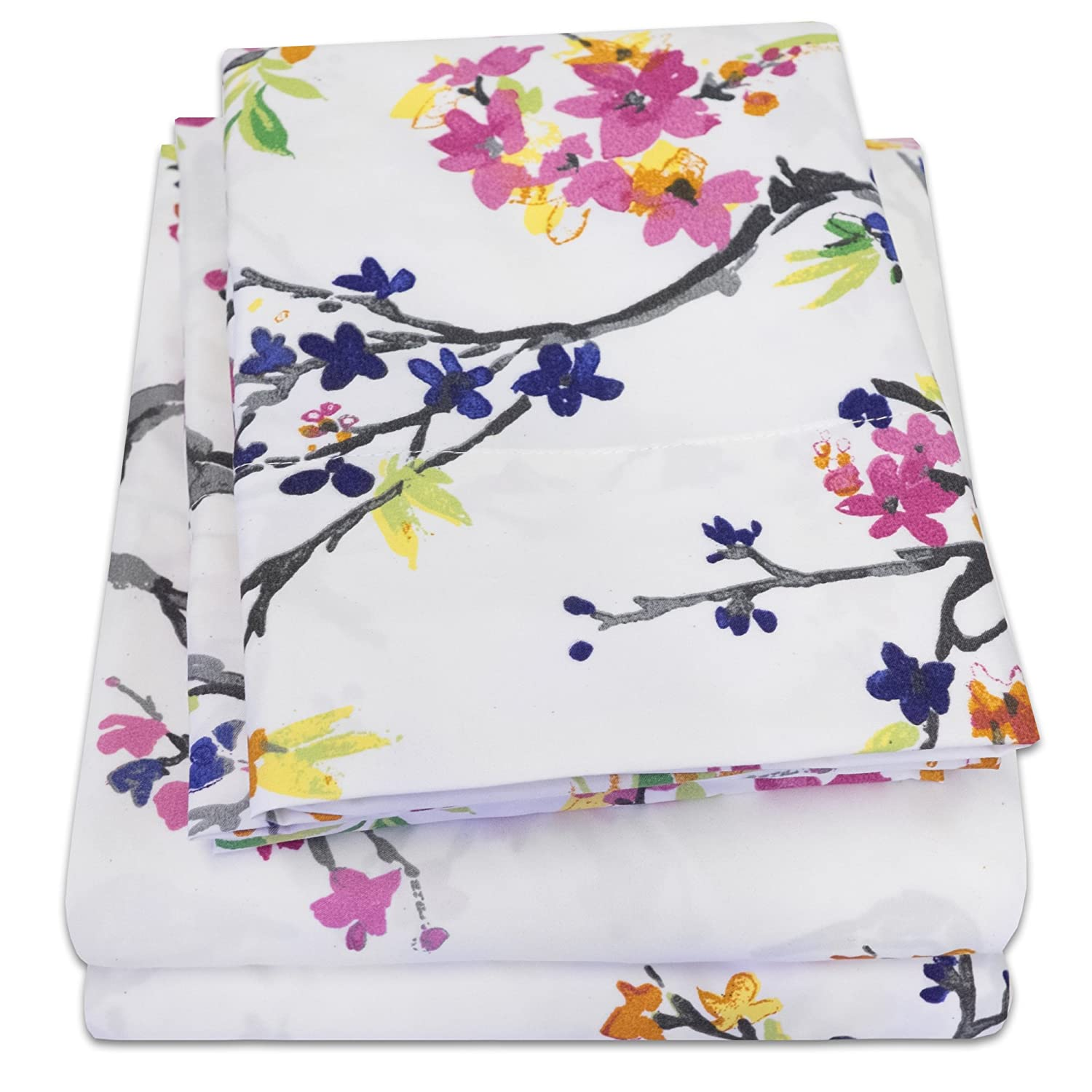 1500 Supreme Collection Extra Soft Botanical Bright Whimsical Watercolor Pattern Sheet Set, Queen - Luxury Bed Sheets Set with Deep Pocket Wrinkle Free Hypoallergenic Bedding, Printed Pattern, Queen