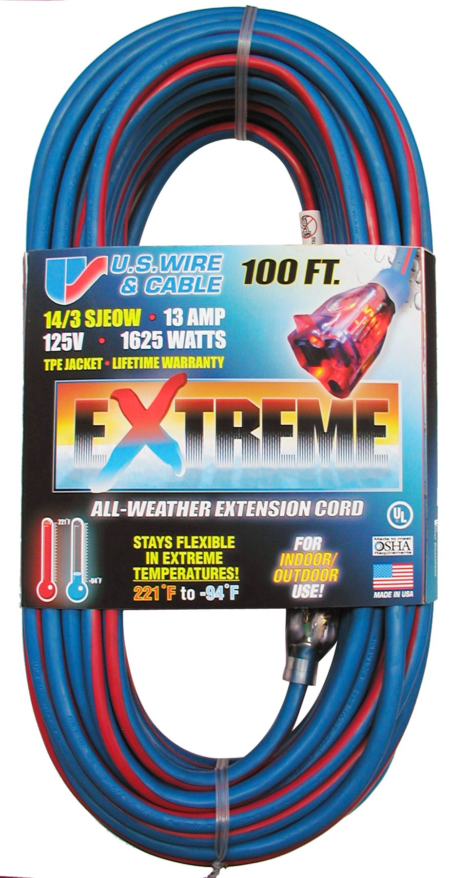 US Wire 98100 14/3 100-Foot SJEOW TPE Cold Weather Extension Cord Blue with Lighted Plug by U.S. Wire & Cable