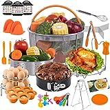 PentaQ Instant Pot Accessories Compatible with 6 Quart, 24 Pieces Pressure Cooker Accessory Set Orange 8 Quart, 2 Steamer Bas