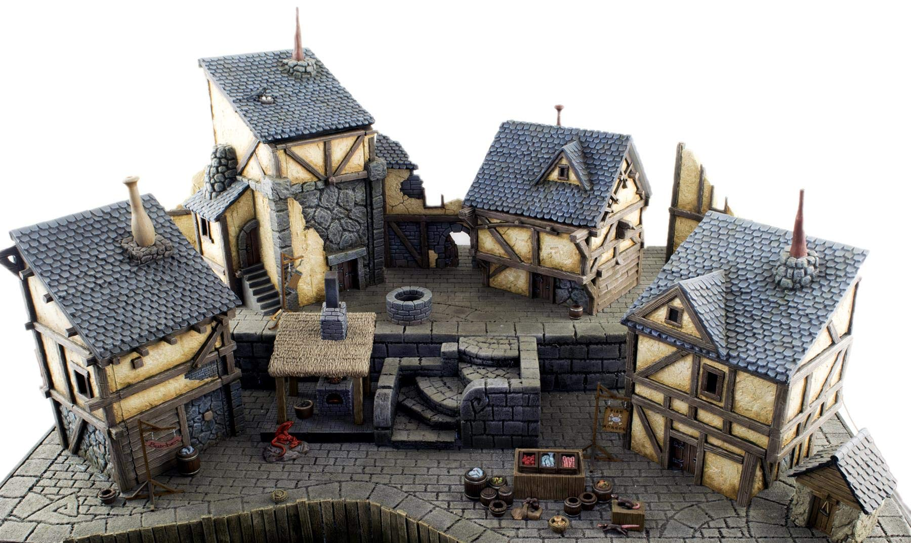 War World Gaming Complete Fantasy Village – 28mm Medieval Wargaming Terrain Model Scenery