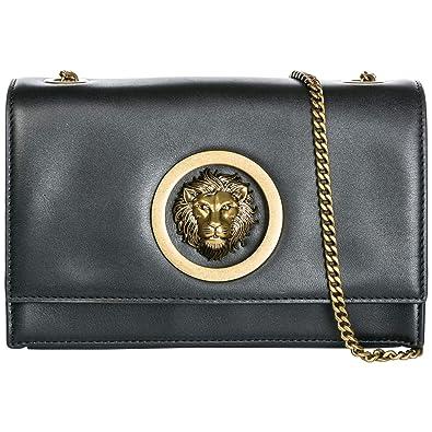 8a033d26b4b Versus Versace Lion Head pochette femme black - antique gold  Amazon ...