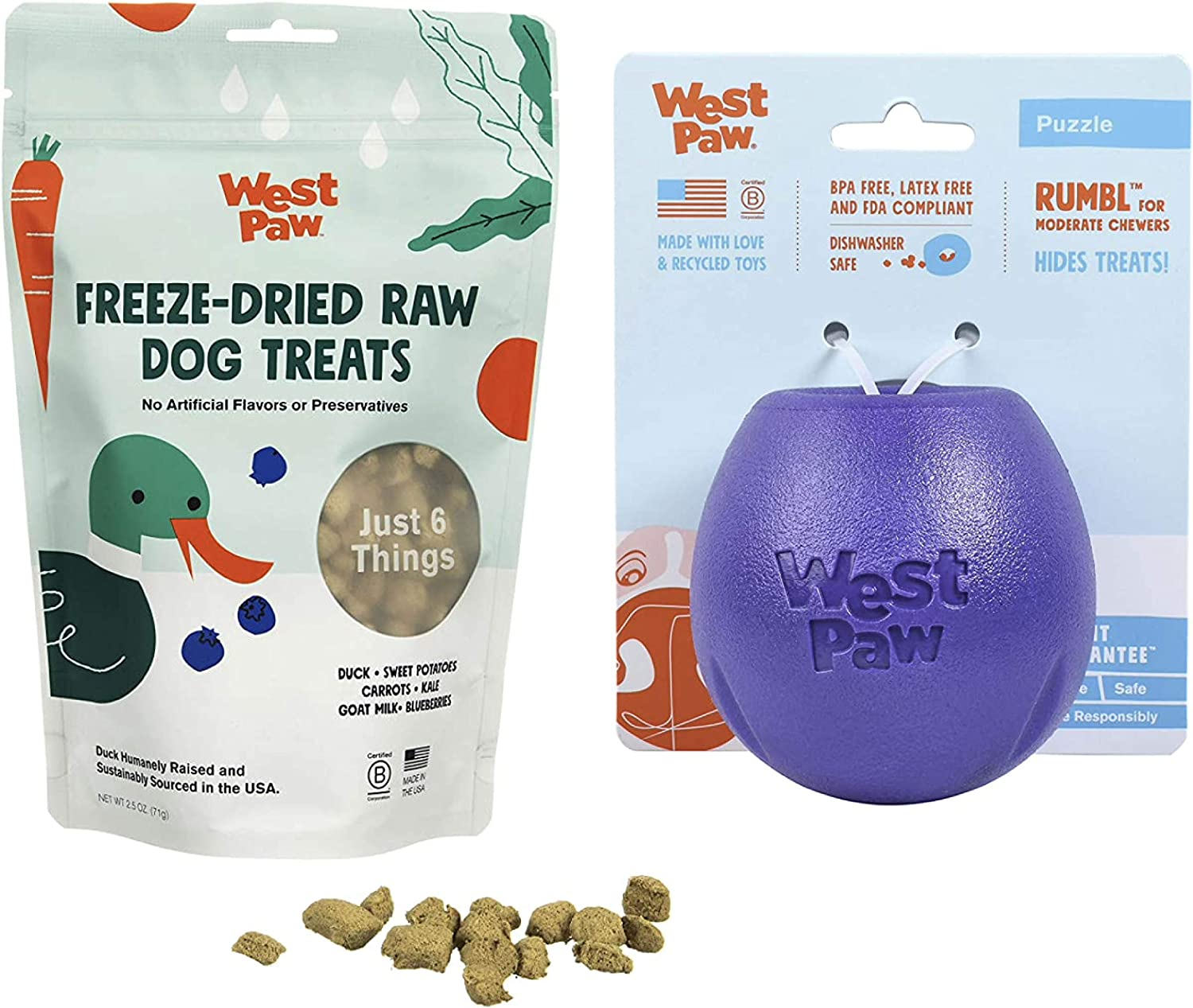 West Paw Duck Superfood Freeze-Dried Raw Dog Treats, 100% Grass Fed & Zogoflex Rumbl Treat-Dispensing Dog Toy for Moderate Chewers, Fetch, Catch – Holds Kibble, Treats (Eggplant, Small)