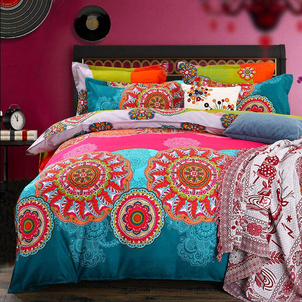 Pangzi Bohemian Duvet Cover Set Lightweight Microfiber Bedding Set (King)