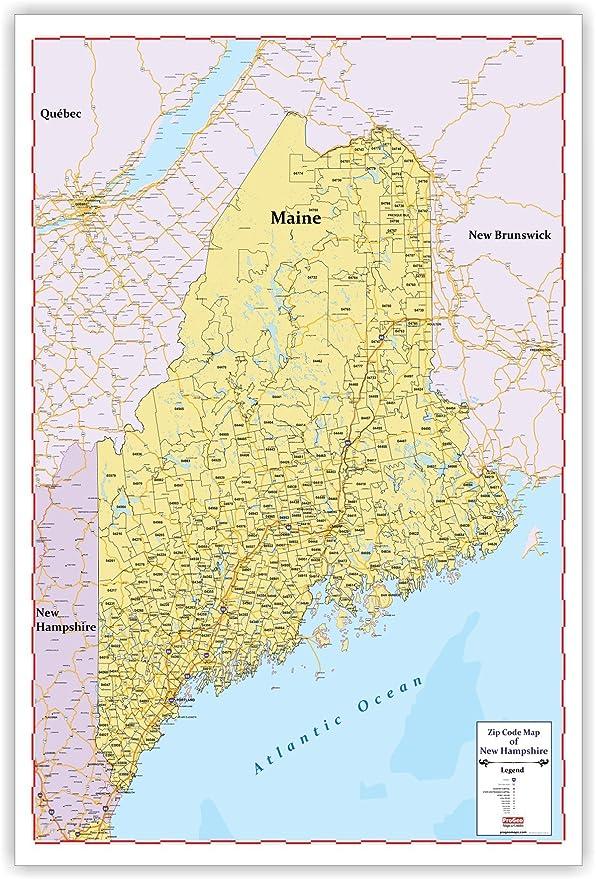 zip code map of maine Amazon Com Zip Code Large Wall Map Of Maine 48 X 69 With Thick zip code map of maine