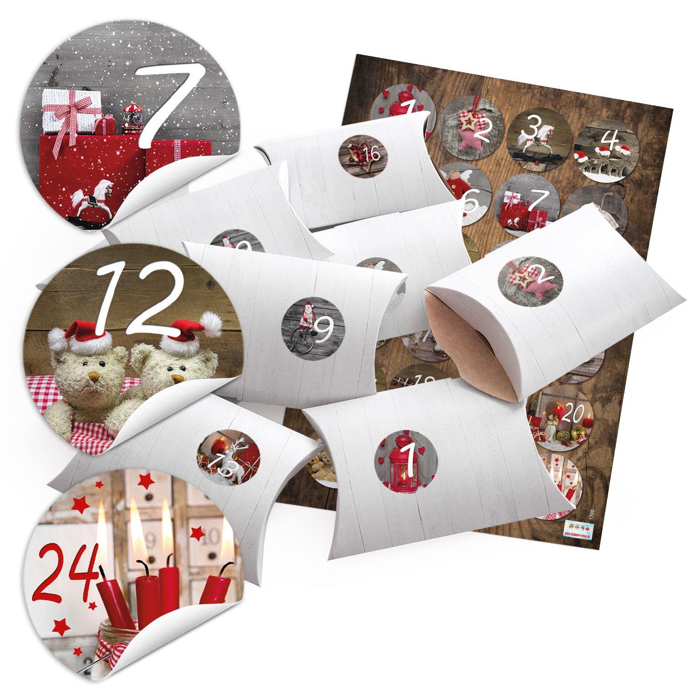 '24petites boîtes cadeau Aspect bois blanc avec autocollant chiffres de l'Avent