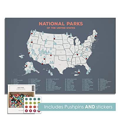 us national park push pin map park map on canvas personalized us national parks