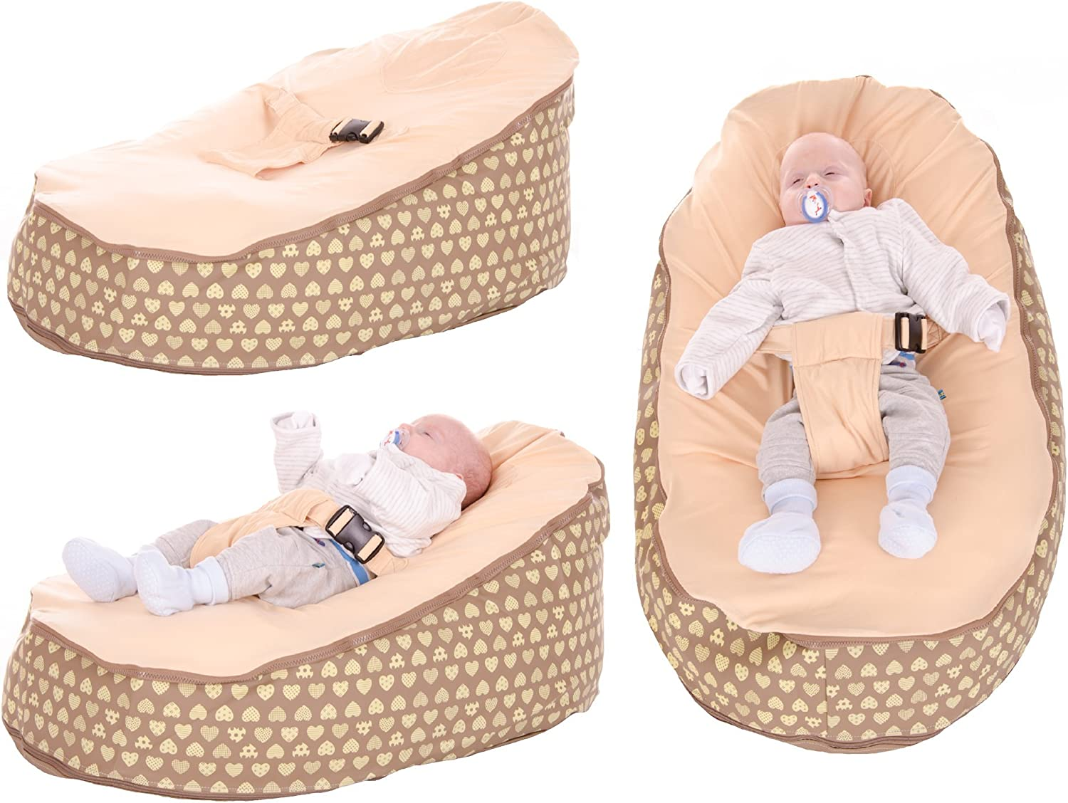 Baby Bean Bag By Lilypod UK Chair In Neutral Heart Design Including Filling