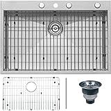 "Ruvati RVH8001 Drop-In Overmount 33"" by 22"" Kitchen Sink 16 Gauge Single Bowl"