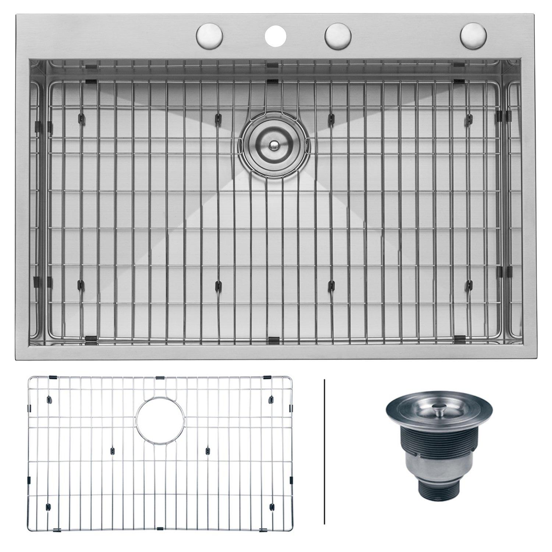 Ruvati RVH8001 Drop-In Overmount 33'' by 22'' Kitchen Sink 16 Gauge Single Bowl