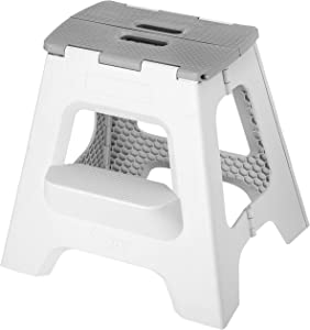 Vigar Compact Foldable 2-Step Stool, 16 inches, Lightweight, 330-pound Capacity Non-Slip Folding Step Stool for Kids and Adults, Gray