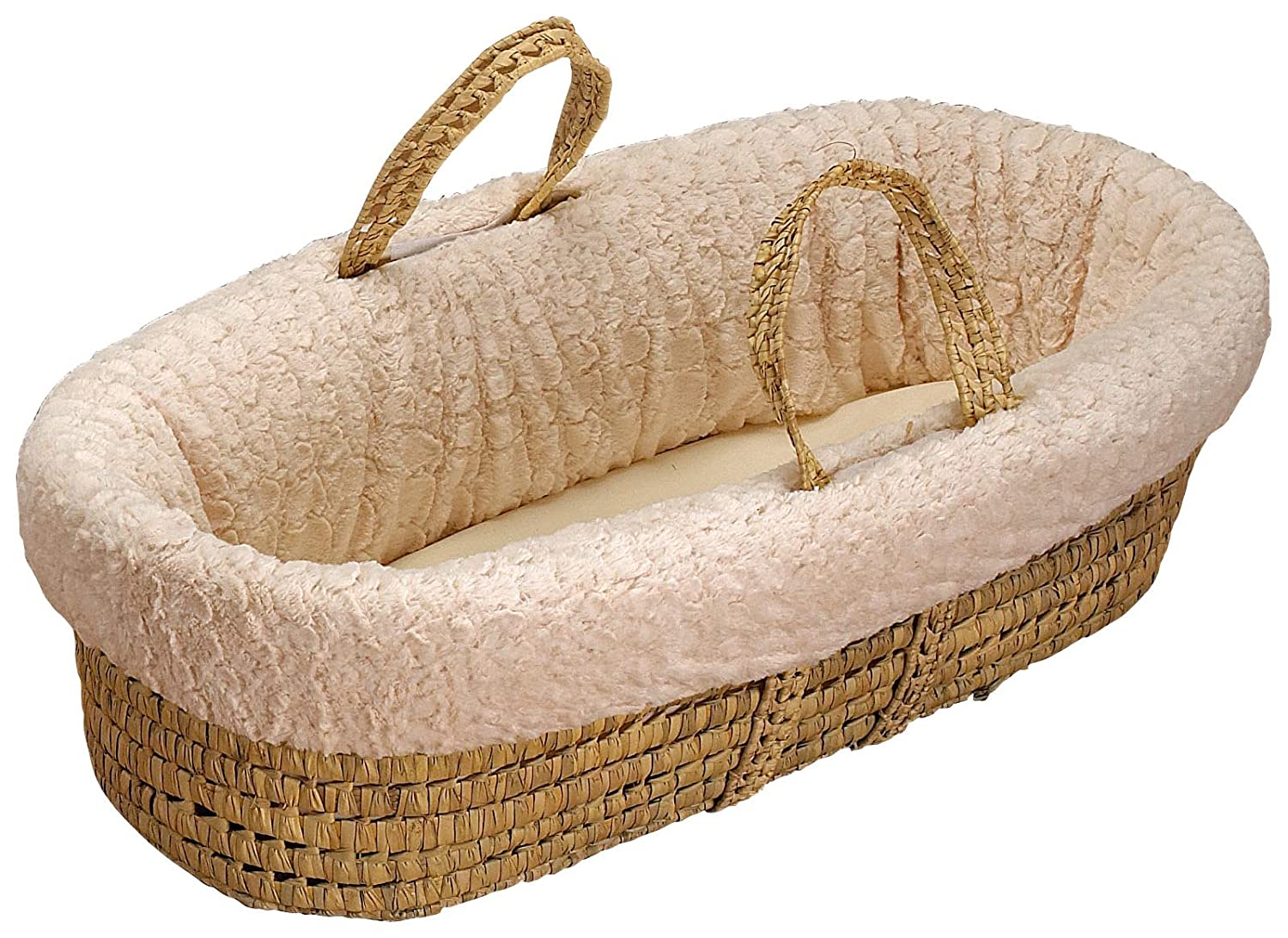 BabyDoll Sheepskin Moses Basket Set, Ivory Baby Doll Bedding 8800mb