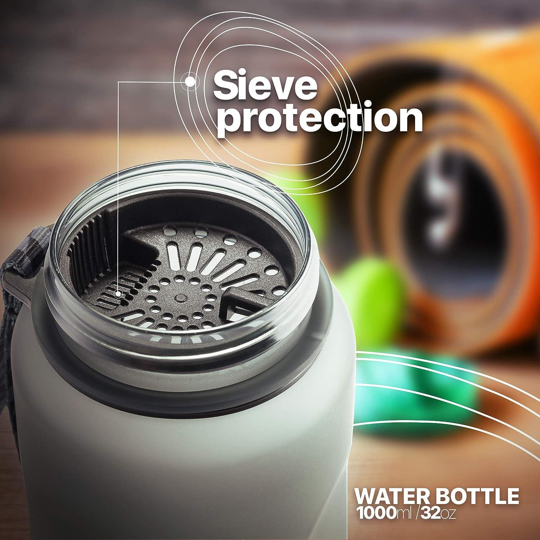 Workout for Travel TRAVELTO Water Bottle 32oz 100/% Tritan Leakproof Sports Bottle FDA Approved Flip Top Leak Proof Lid 1 Liter 1000ml BPA Free One Click Open Fitness Hiking Gym
