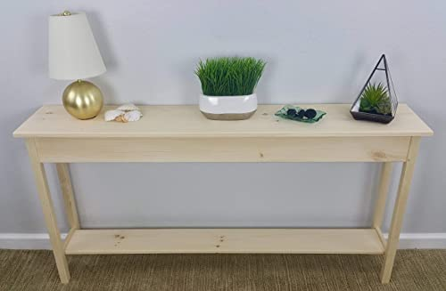 60 Unfinished Pine Wall, Foyer, Sofa, Console, Hall Table With Bottom Shelf