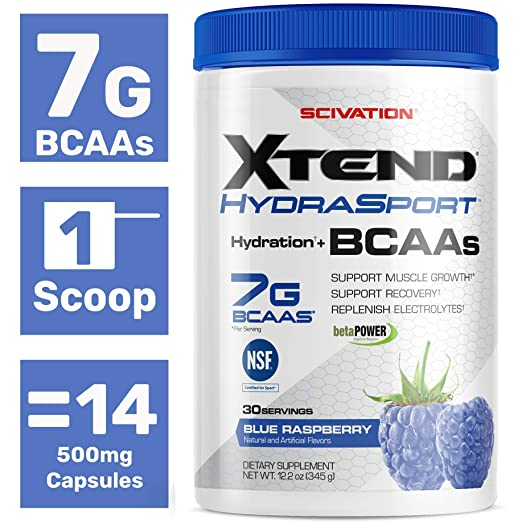 Scivation Xtend Hydrasport Bcaa Powder, Blue Raspberry, 30 Servings, Keto  Friendly, Branched Chain Amino
