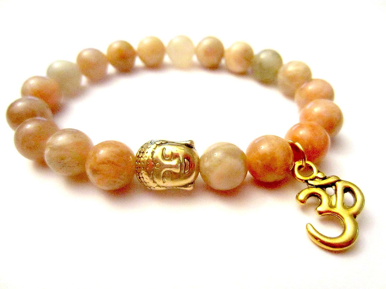 Mens Bracelet SUNSTONE BRACELET 10 mm UNISEX Natural Bracelet Chakra Energy Yoga Bracelet Sunstone Meditation Healt Charms Bracelet Sunstone