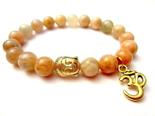 Amazon.com: Sunstone Bracelet. Energy Bracelet. Om Charm ...