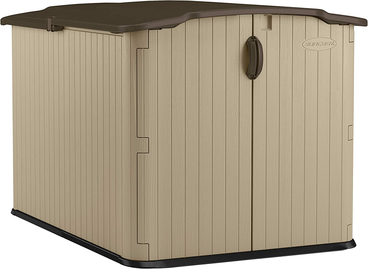 Suncast BMS4900D EMW7306442 Glidetop Slide Lid Outdoor Storage Shed with Walk-In A, Brown