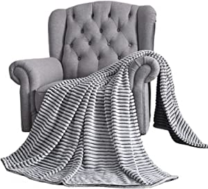 YINSIO Fuzzy Flannel Fleece Throw Blanket, Super Soft Cozy Microfiber Couch Blankets for All Season, 50x70 Inches White-Grey