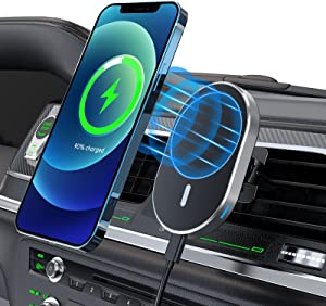 15W Magnetic Wireless Car Charger Mount for iPhone 12/12 Pro/ 12 Mini/ 12 Pro Max, Fast Charging Auto-Alignment Air Vent Car Holder Charger- Compatible with Magsafe Charger/Magsafe Case